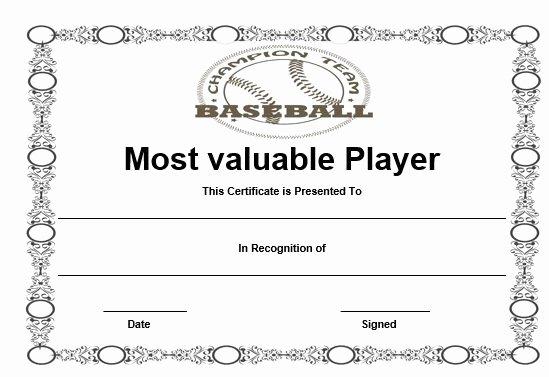 Baseball Certificates Templates Free Fresh Free Baseball Mvp Certificate Template