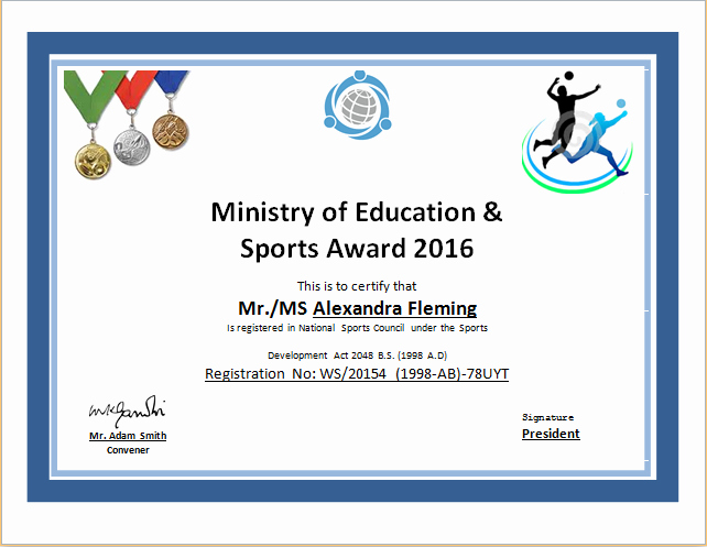 Baseball Certificates Templates Free Fresh Sports Certificate Template for Ms Word