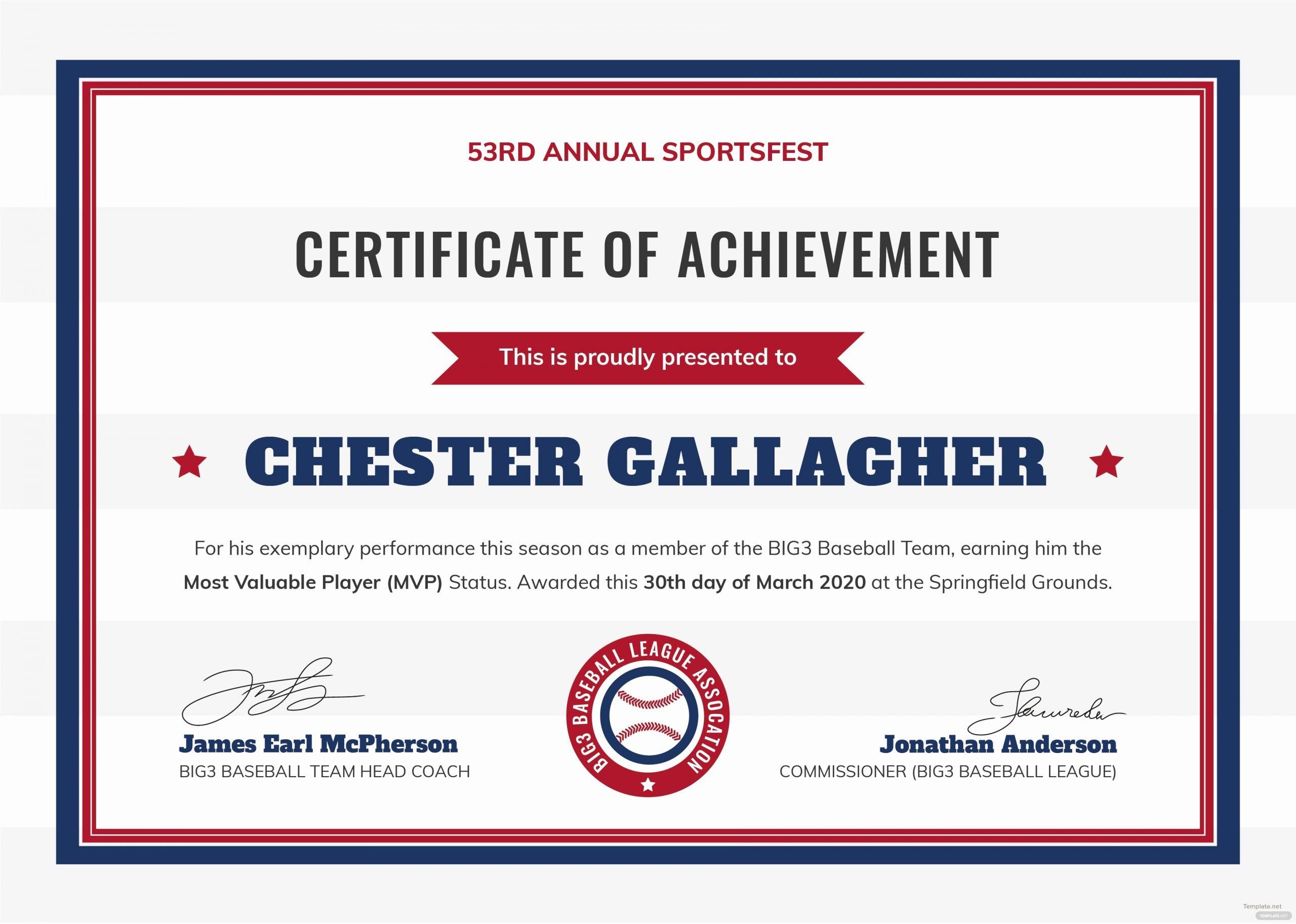 Baseball Certificates Templates Free Inspirational Free Baseball Certificate Template In Adobe Shop
