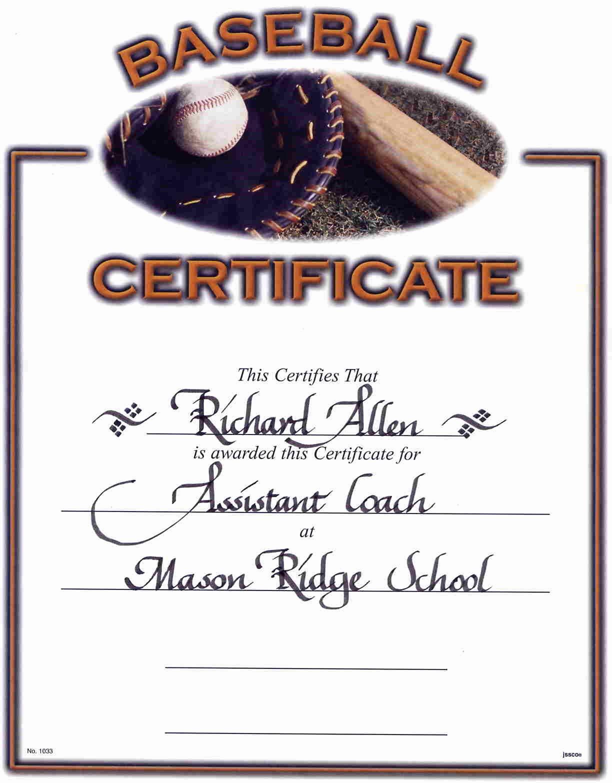 Baseball Certificates Templates Free Unique Best S Of Certificates for Youth Baseball Players