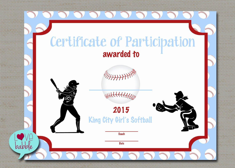 Baseball Certificates Templates Free Unique Girls softball Baseball T Ball Award Certificate Printable
