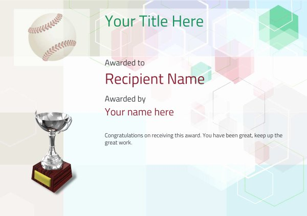 Baseball Certificates Templates Free Unique Use Free Baseball Certificate Templates by Awardbox