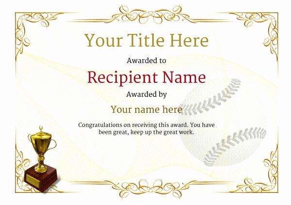 Baseball Gift Certificate Template Beautiful Use Free Baseball Certificate Templates by Awardbox