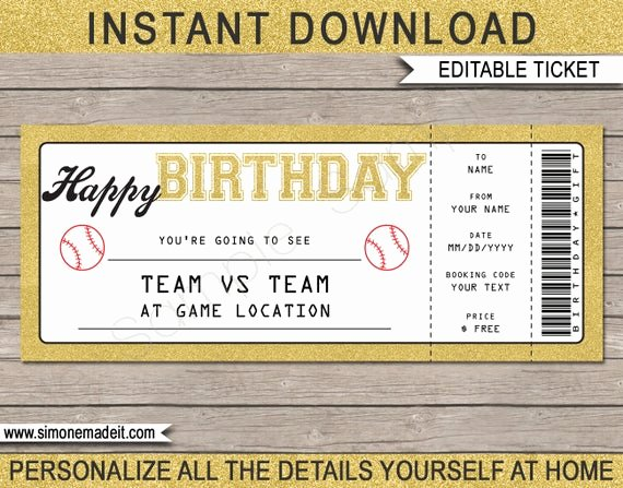 Baseball Gift Certificate Template Best Of Birthday Baseball Game Ticket Gift Surprise Ticket to