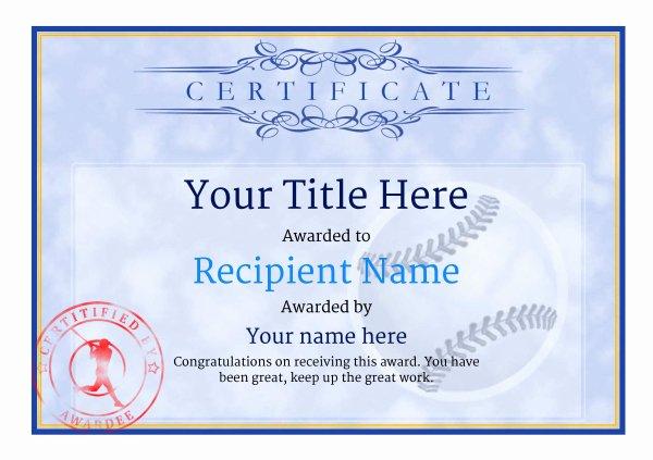 Baseball Gift Certificate Template Lovely Use Free Baseball Certificate Templates by Awardbox