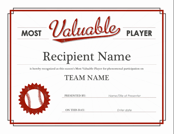 Baseball Gift Certificate Template Luxury Most Valuable Player Award Certificate