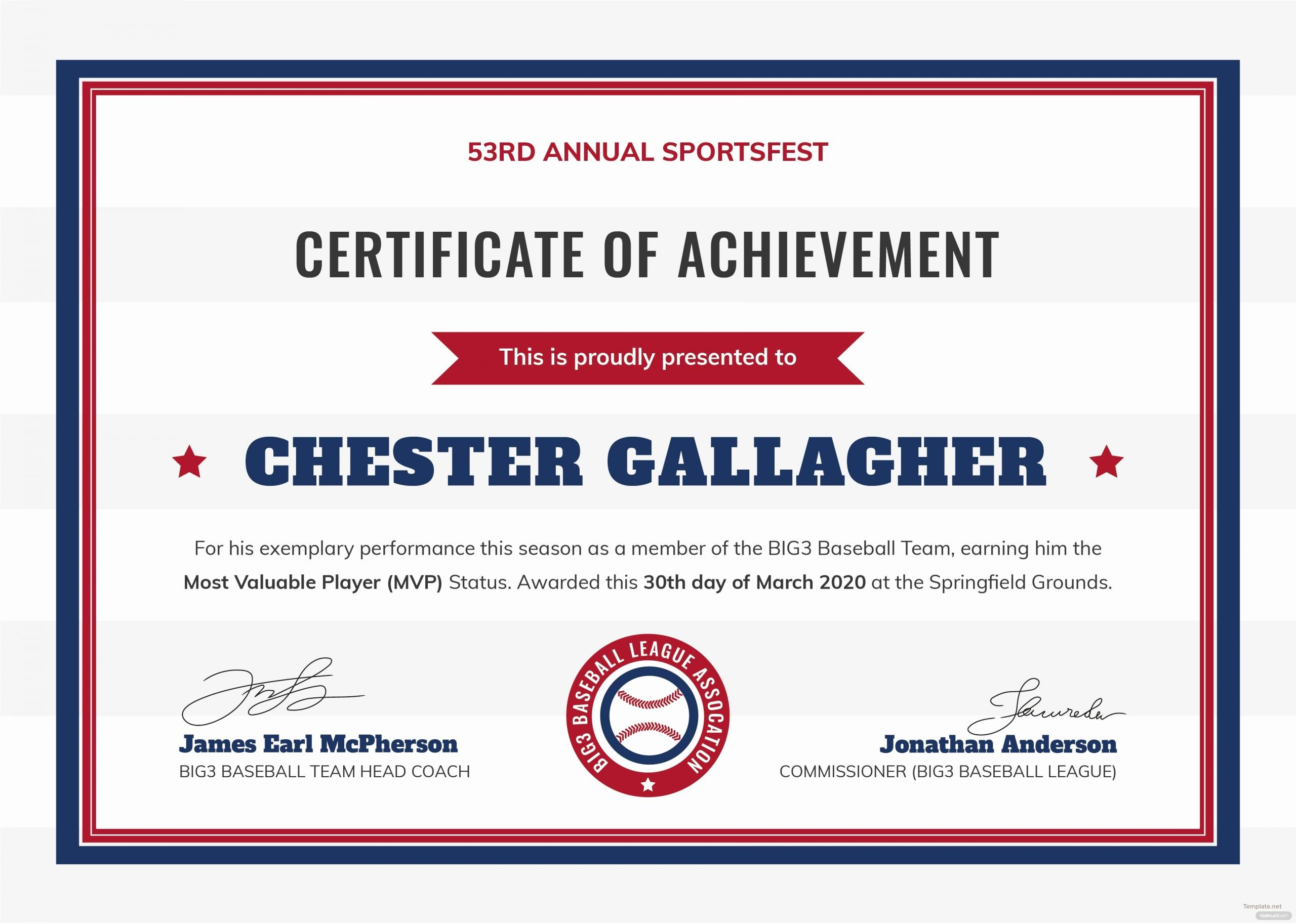 Baseball Gift Certificate Template New Free Baseball Certificate Template In Adobe Shop