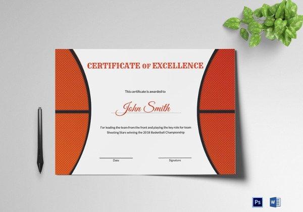 Basketball Award Certificate Template Best Of Free 47 Award Certificate Examples and Samples In Word