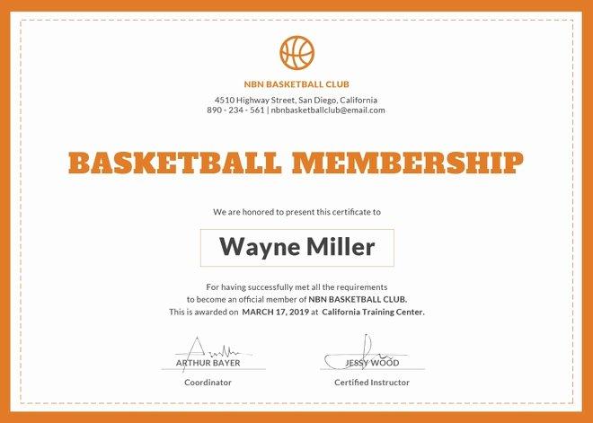 Basketball Award Certificate Template Fresh Basketball Certificate Template 14 Free Word Pdf Psd