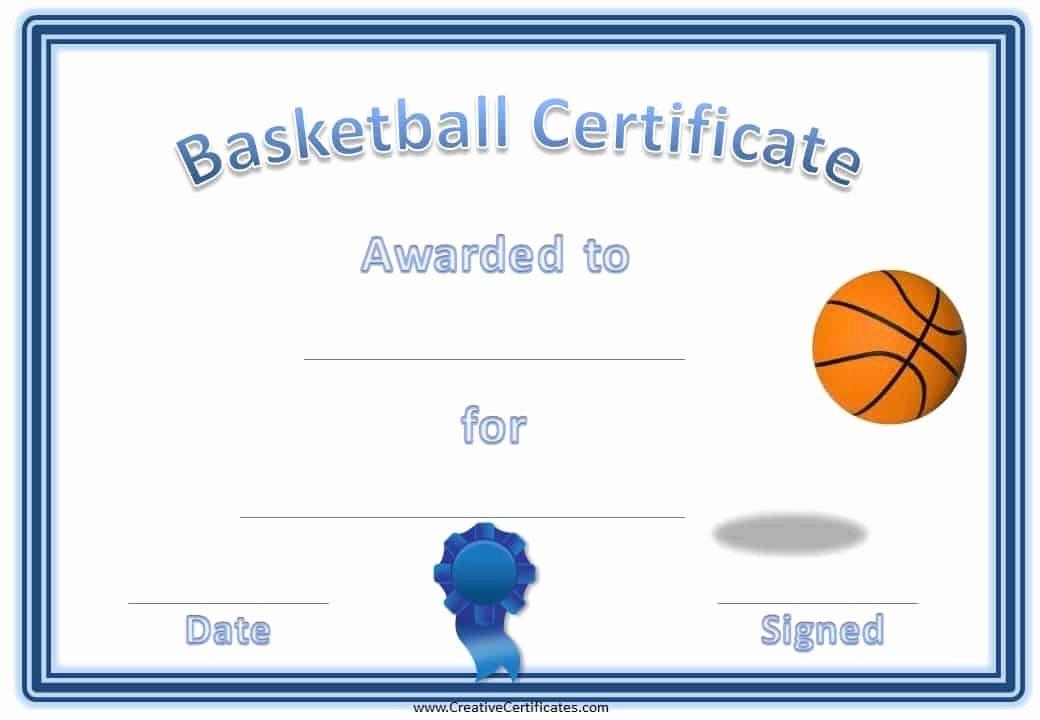 Basketball Award Certificate Template Fresh Free Editable & Printable Basketball Certificate Templates