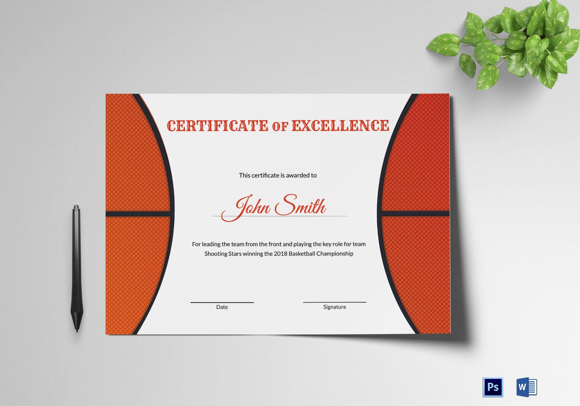 Basketball Award Certificate Template Lovely Basketball Excellence Award Certificate Design Template In