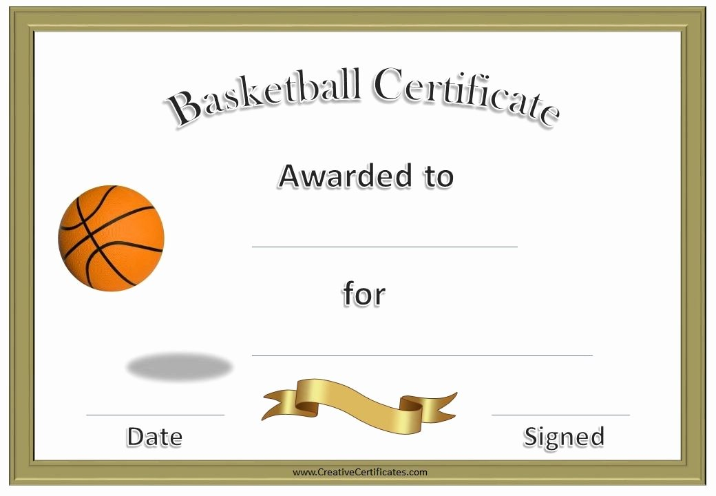 Basketball Camp Certificate Template Lovely Basketball Certificates Kids