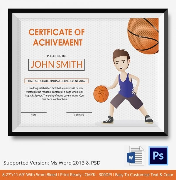 Basketball Camp Certificate Template New Basketball Certificate Template 14 Free Word Pdf Psd