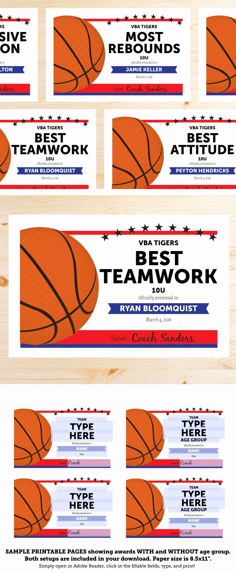 Basketball Camp Certificate Template New Great List Of Basketball Award Categories and Editable
