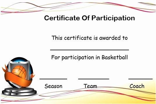 Basketball Certificate Template Free Beautiful Basketball Certificate Of Participation Template