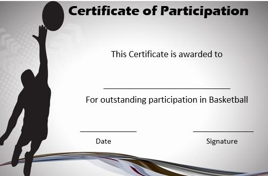 Basketball Certificate Template Free Best Of Basketball Certificate Of Participation