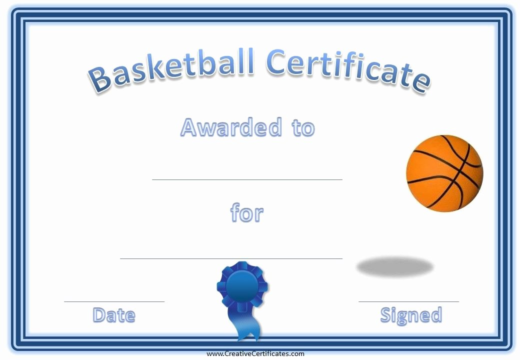 Basketball Certificate Template Free Inspirational Basketball Award Certificate Kids