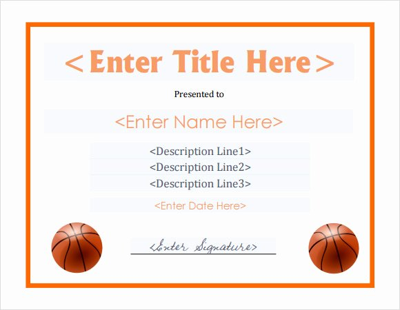 Basketball Certificate Template Free New 20 Sample Basketball Certificate Templates In Pdf