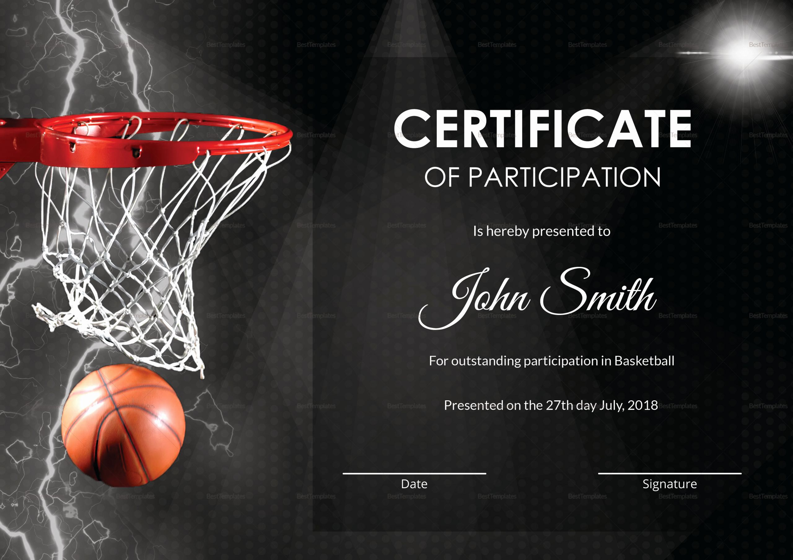 Basketball Certificate Template Free New Basketball Participation Certificate Design Template In