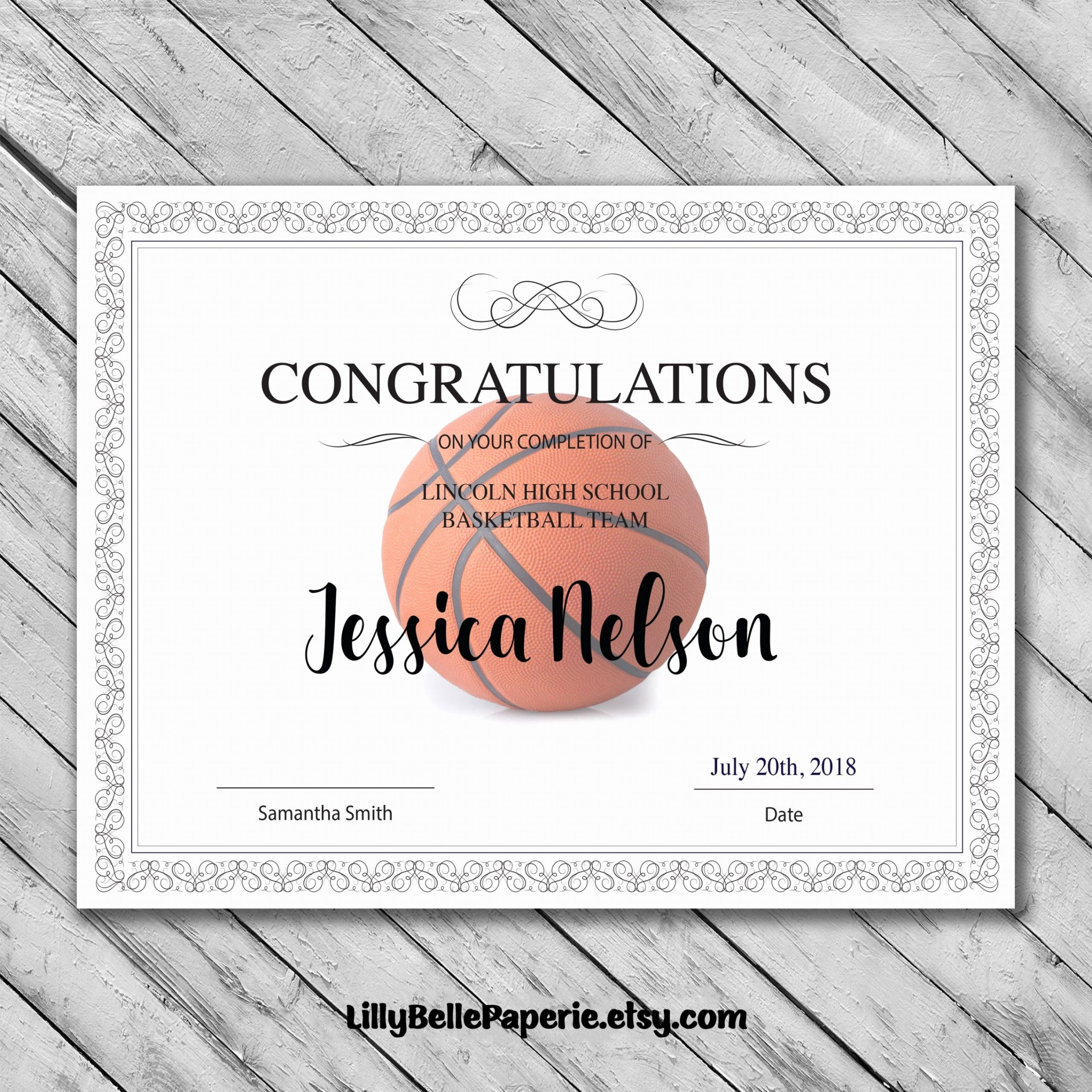 Basketball Certificate Template Free New Printable Editable Basketball Certificate Template