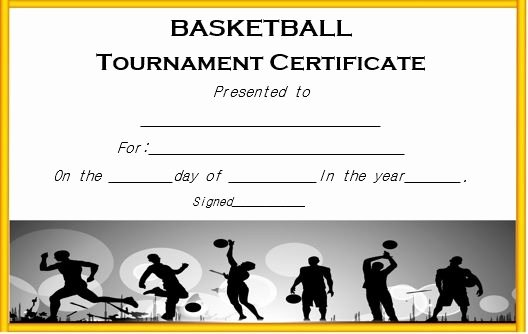 Basketball Certificate Templates for Word Awesome Basketball tournament Certificate Template