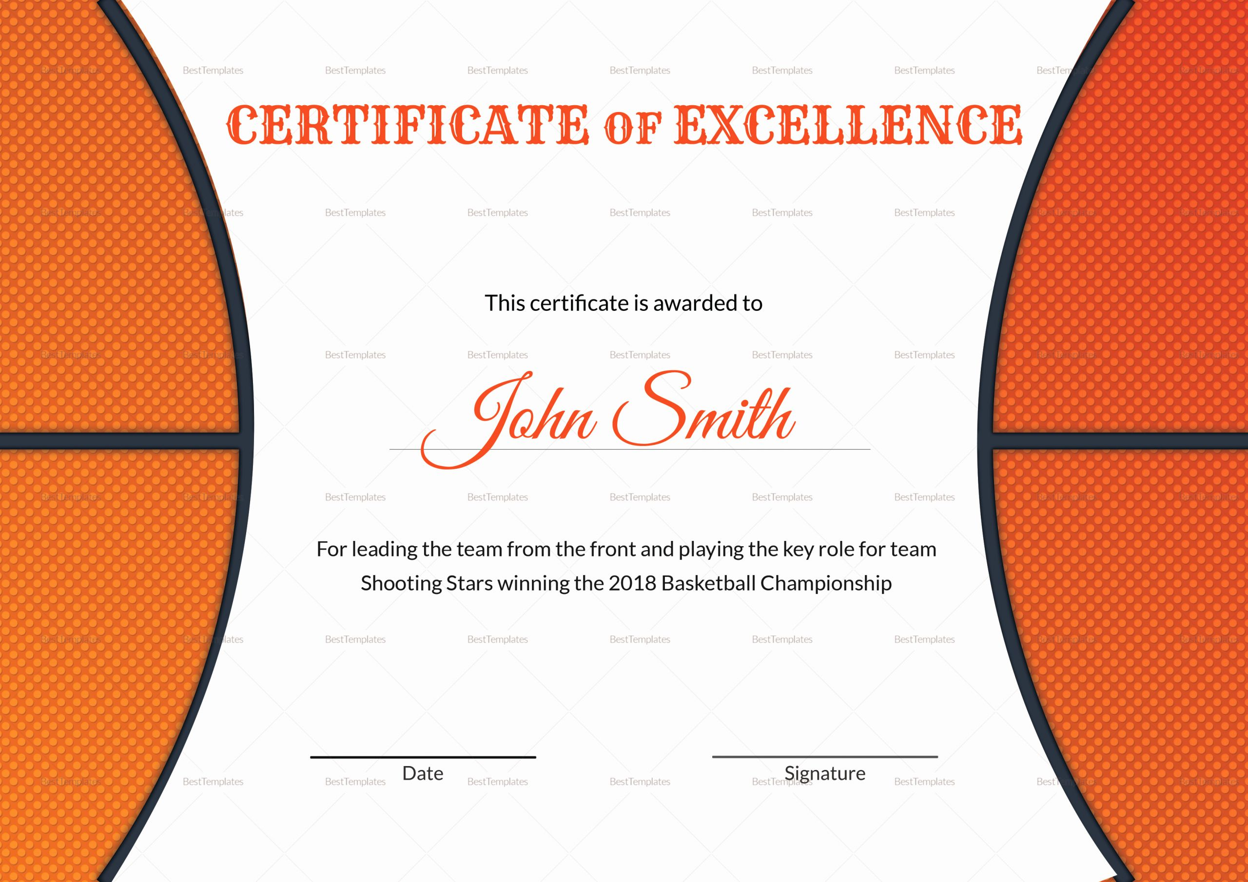 Basketball Certificate Templates for Word Beautiful Basketball Excellence Award Certificate Design Template In
