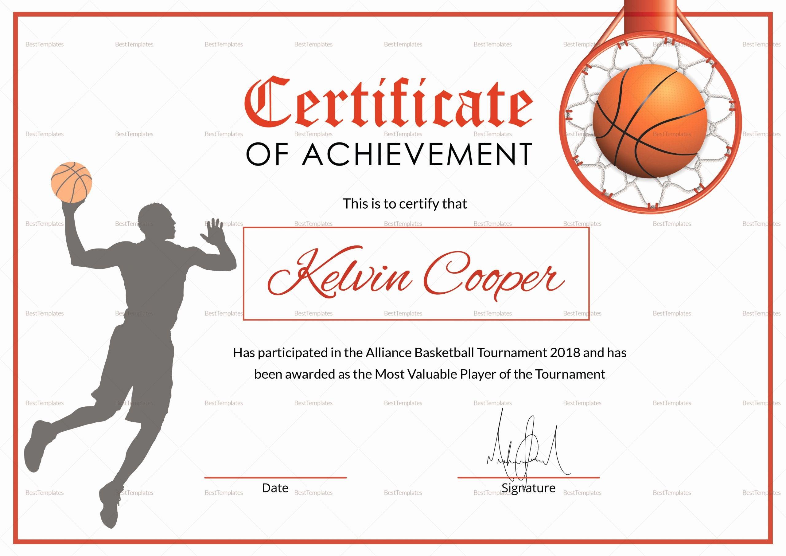 Basketball Certificate Templates for Word Best Of Basketball Award Achievement Certificate Design Template
