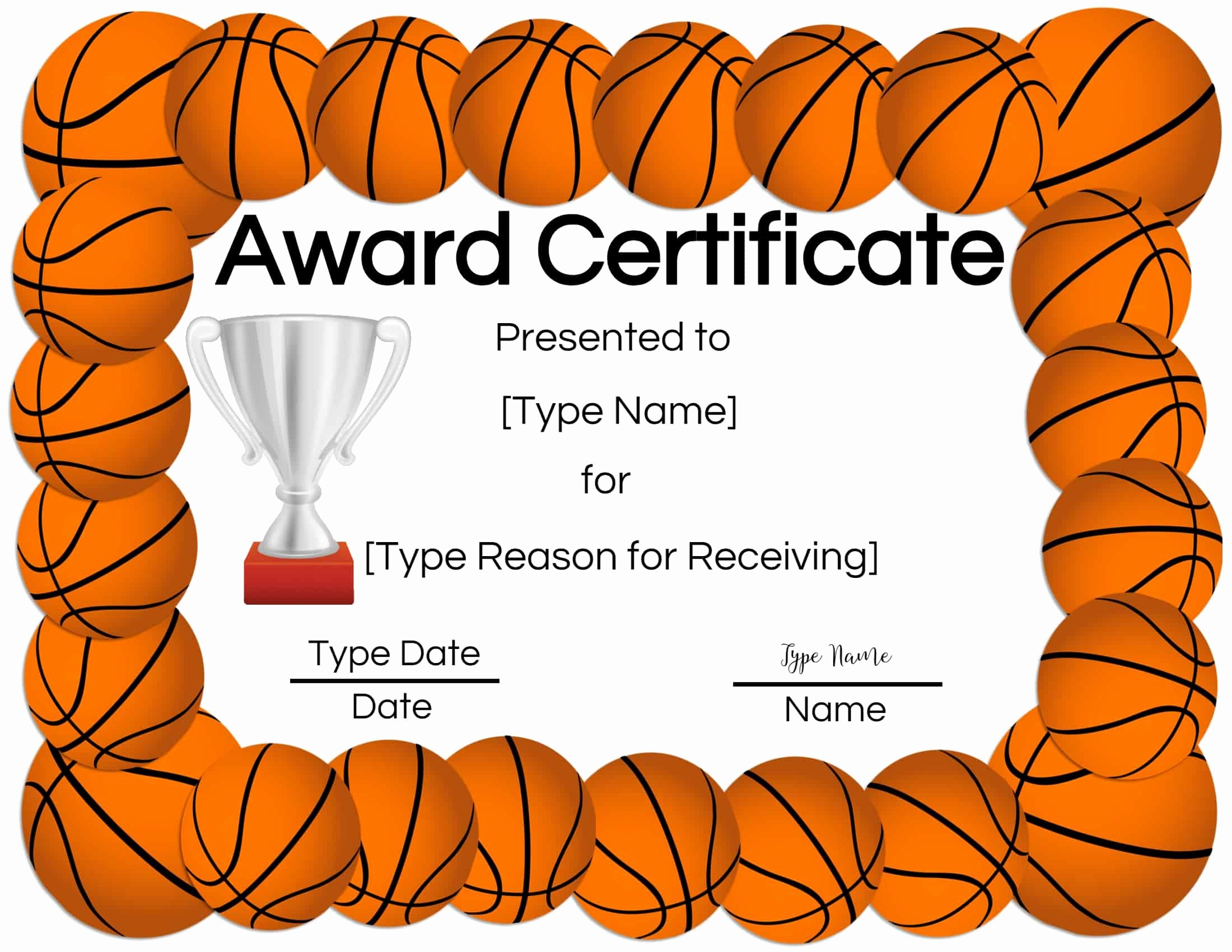 Basketball Certificate Templates for Word Elegant Free Printable Basketball Certificates
