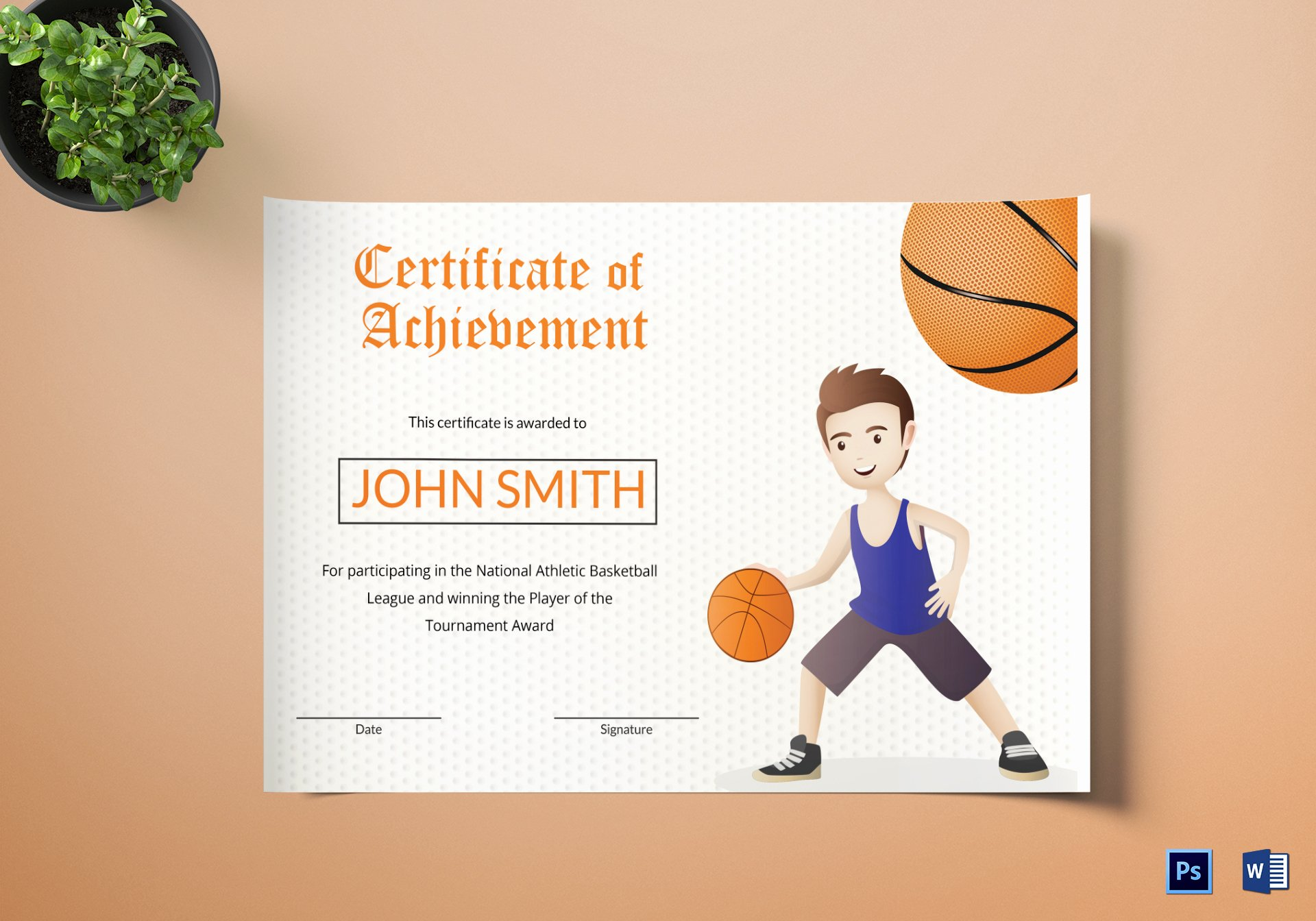 Basketball Certificate Templates for Word Fresh Basketball Certificate Design Template In Word Psd