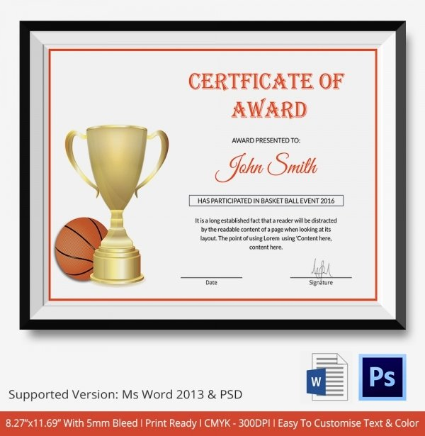 Basketball Certificate Templates for Word Fresh Basketball Certificate Template 12 Free Word Pdf Psd