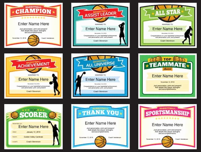Basketball Certificate Templates for Word Fresh Girls Basketball Certificate Templates