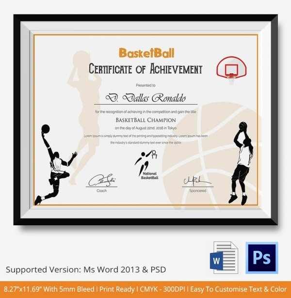 Basketball Certificate Templates for Word New 8 Sports Certificate Templates Free Sample Example