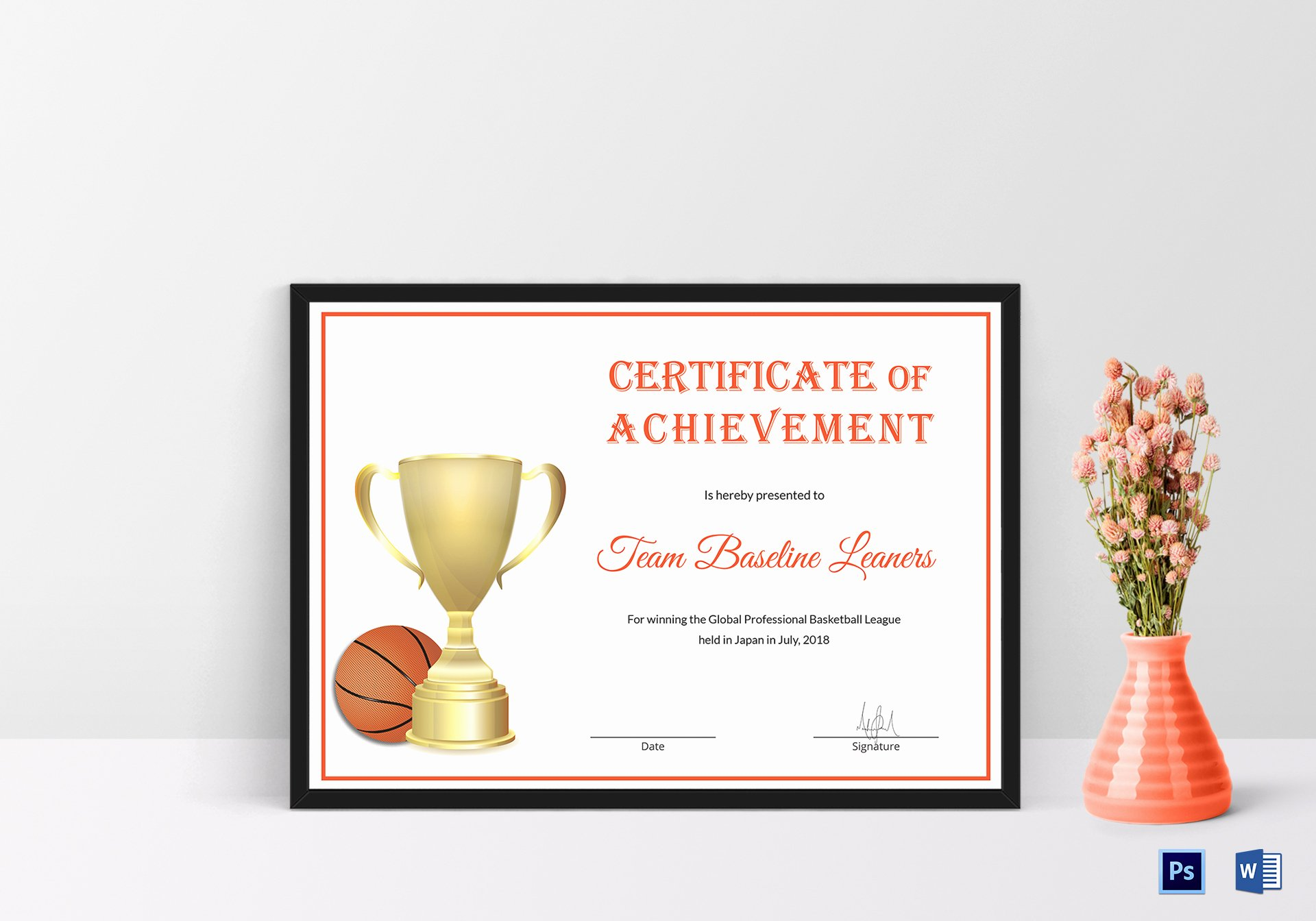 Basketball Certificate Templates for Word Unique Basketball Achievement Certificate Design Template In Psd