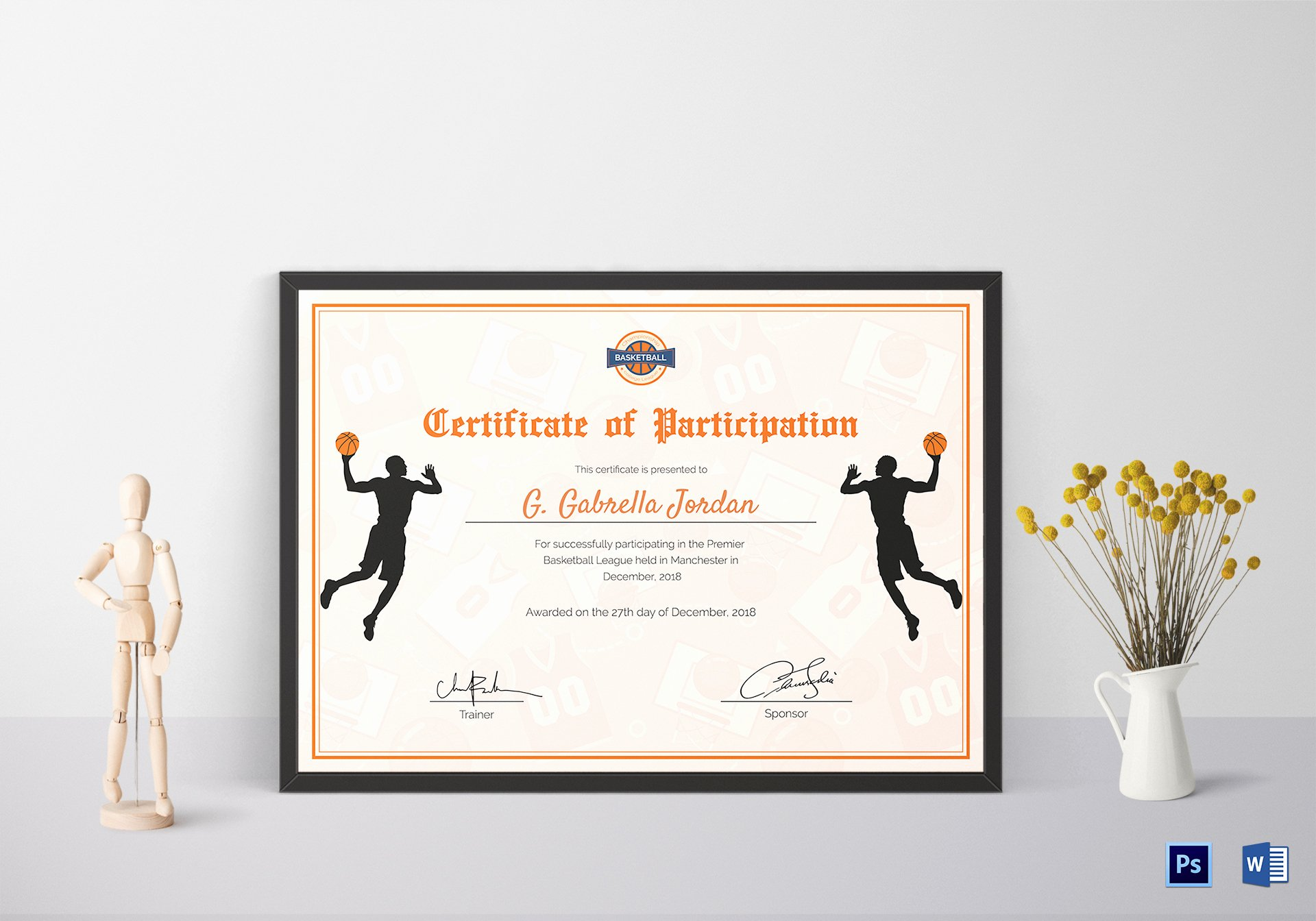 Basketball Certificate Templates for Word Unique Certificate Of Basketball Participation Design Template In