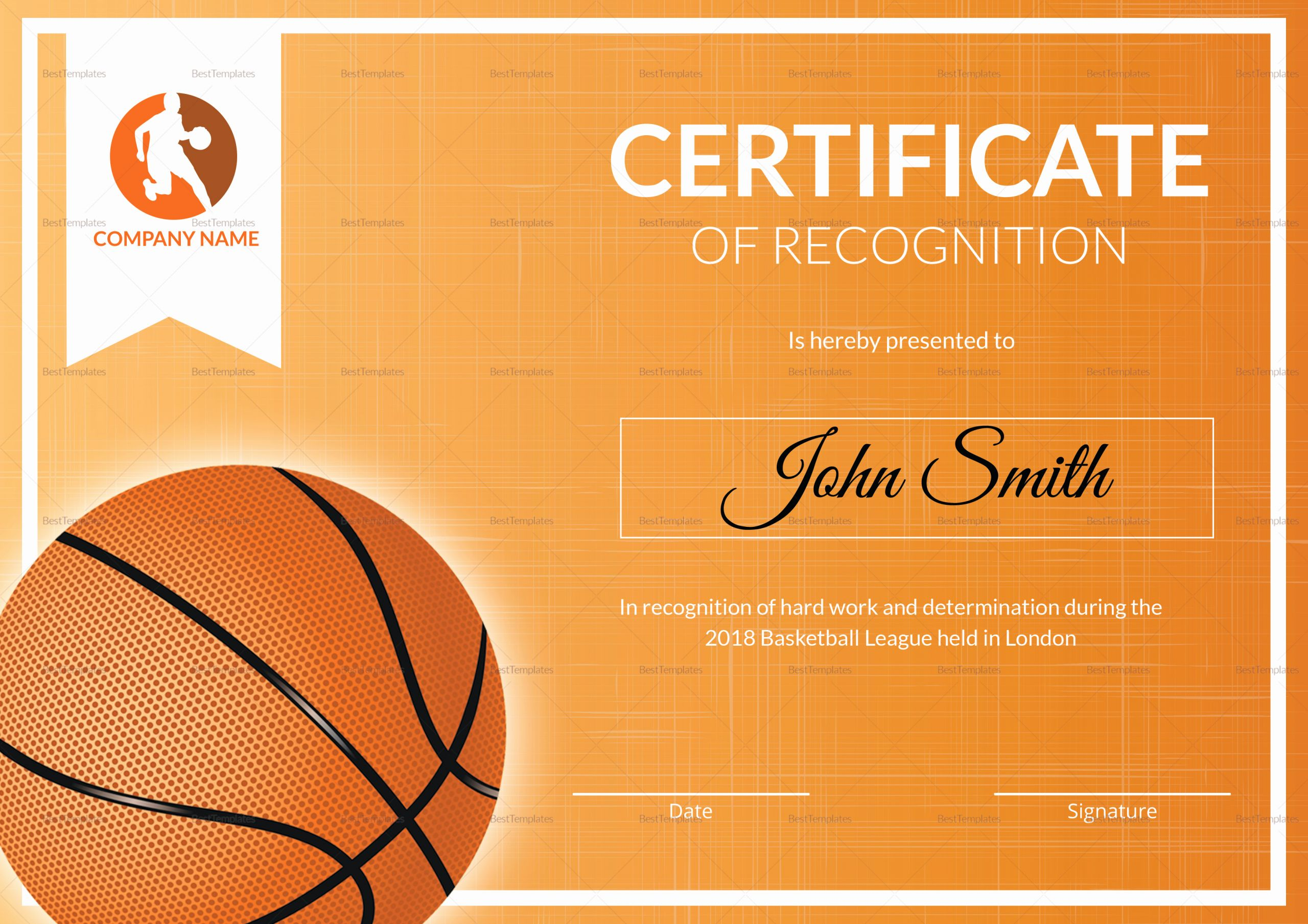 Basketball Certificates Free Download Awesome Basketball Recognition Certificate Design Template In Psd
