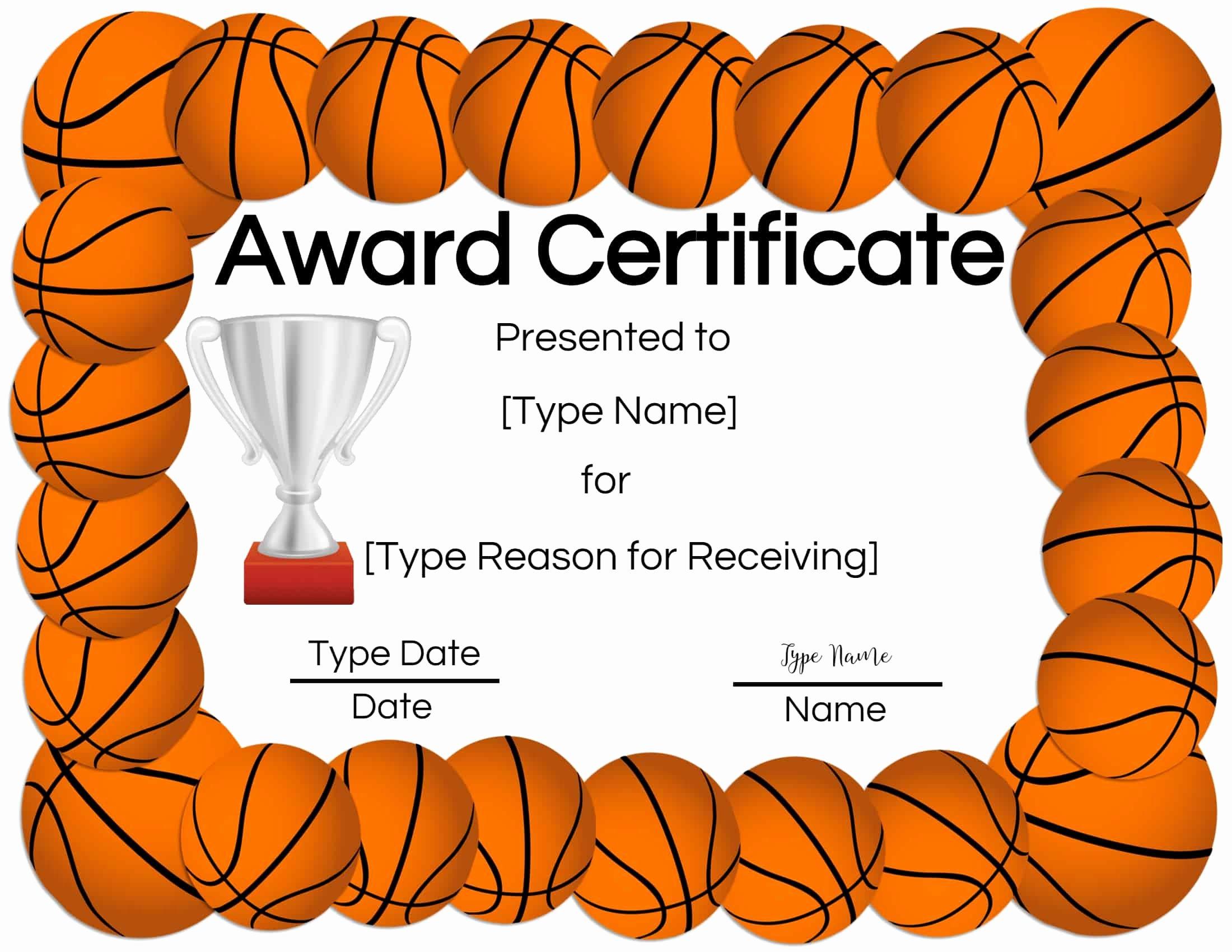 Basketball Certificates Free Download Inspirational Free Printable Basketball Certificates