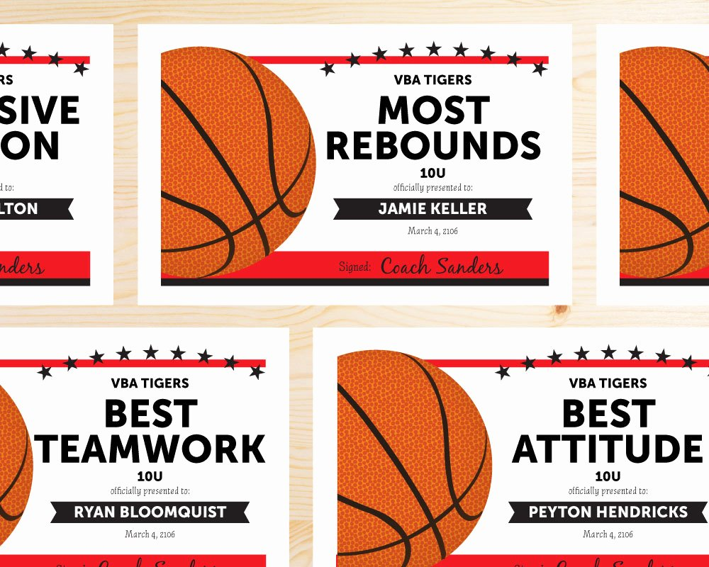 Basketball Certificates Free Download New Editable Basketball Award Certificates Instant Download