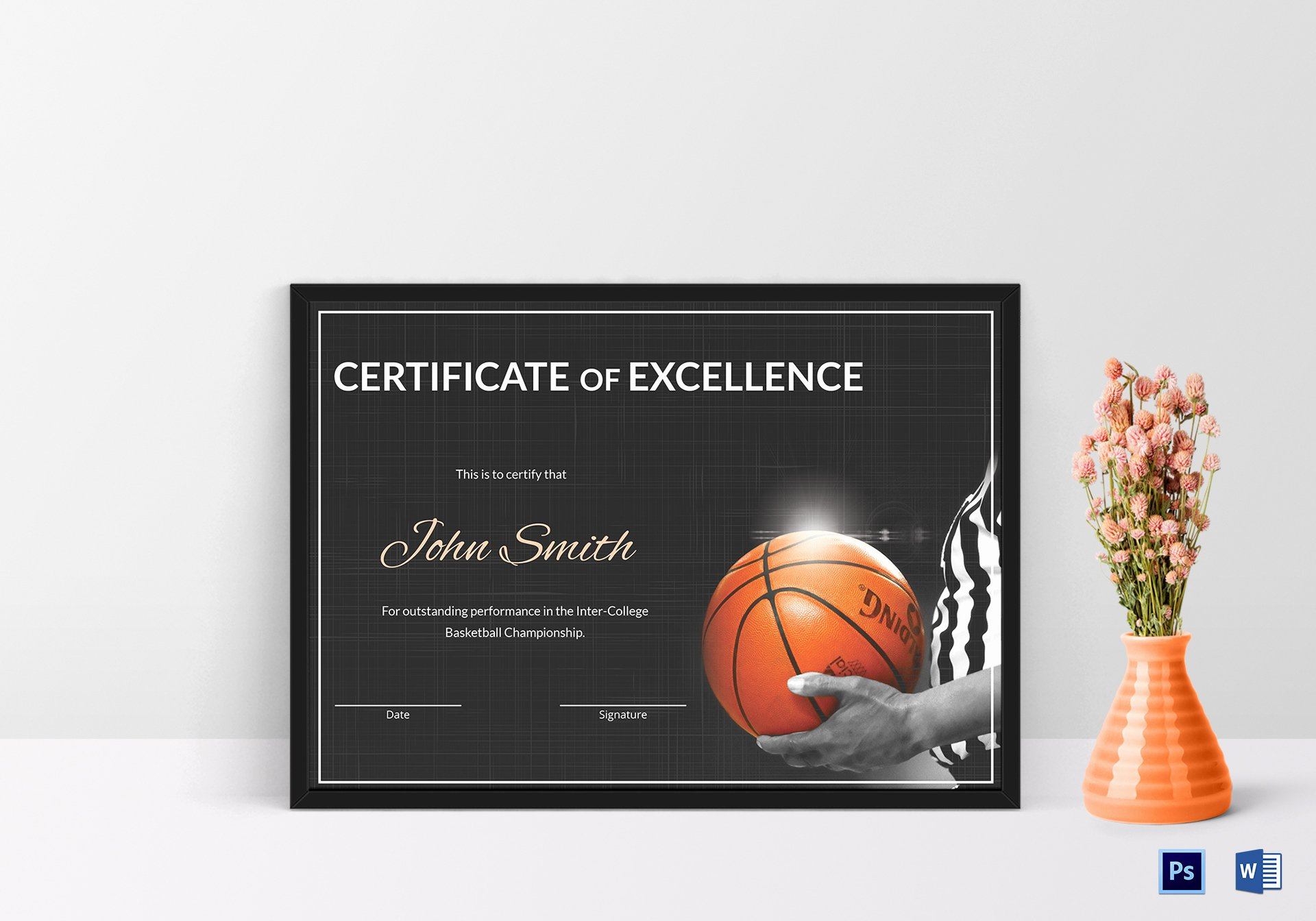 Basketball Certificates Free Download Unique Basketball Excellence Certificate Design Template In Psd Word