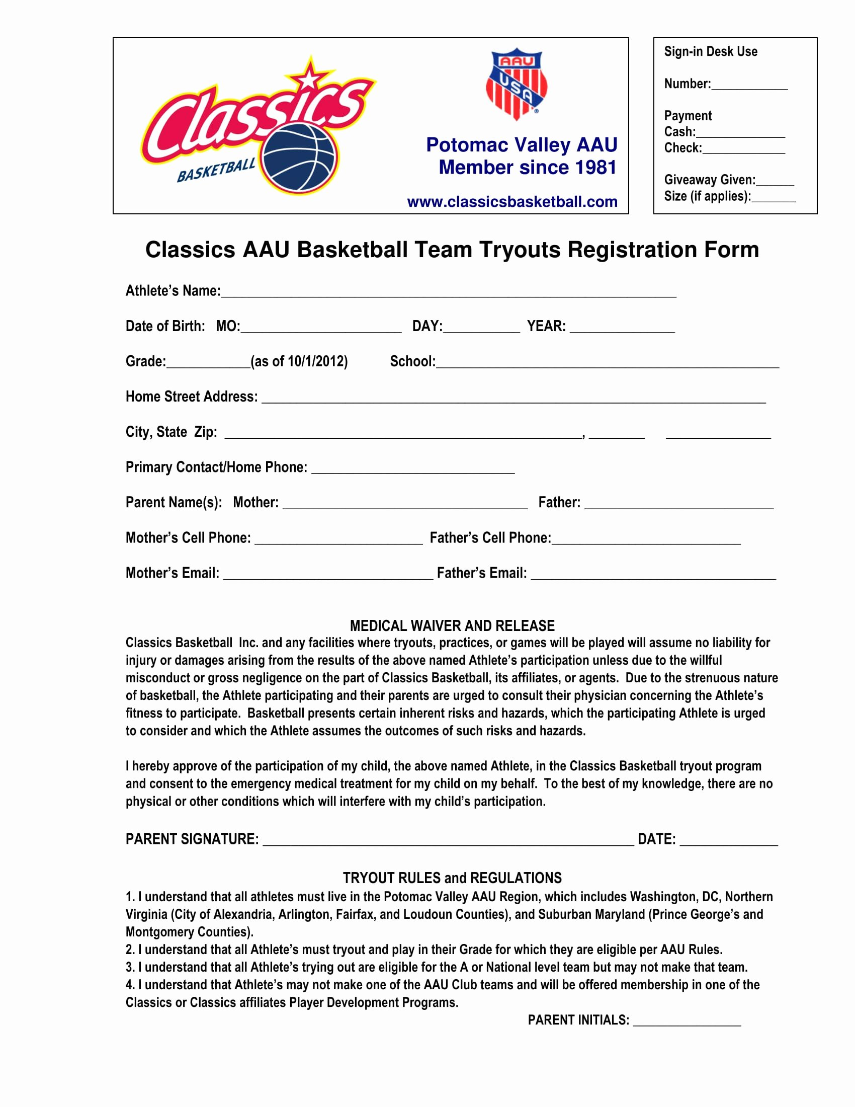 Basketball Tryout form Beautiful Free 9 Basketball Registration form Samples