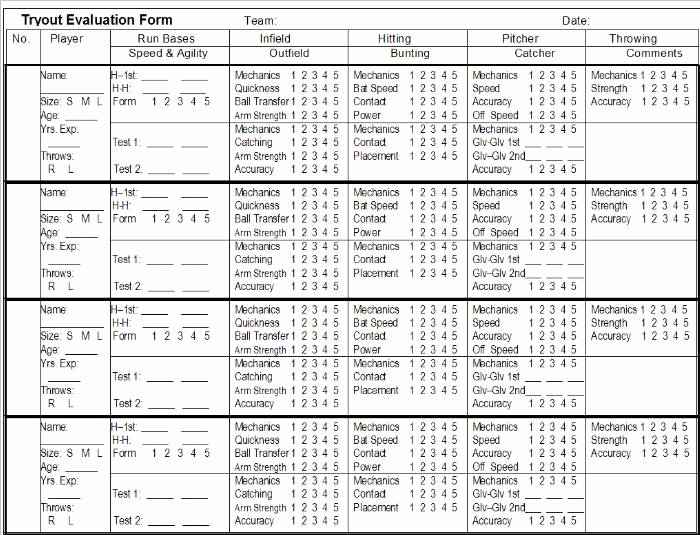 Basketball Tryout form Elegant Baseball Tryout Evaluation Sheet