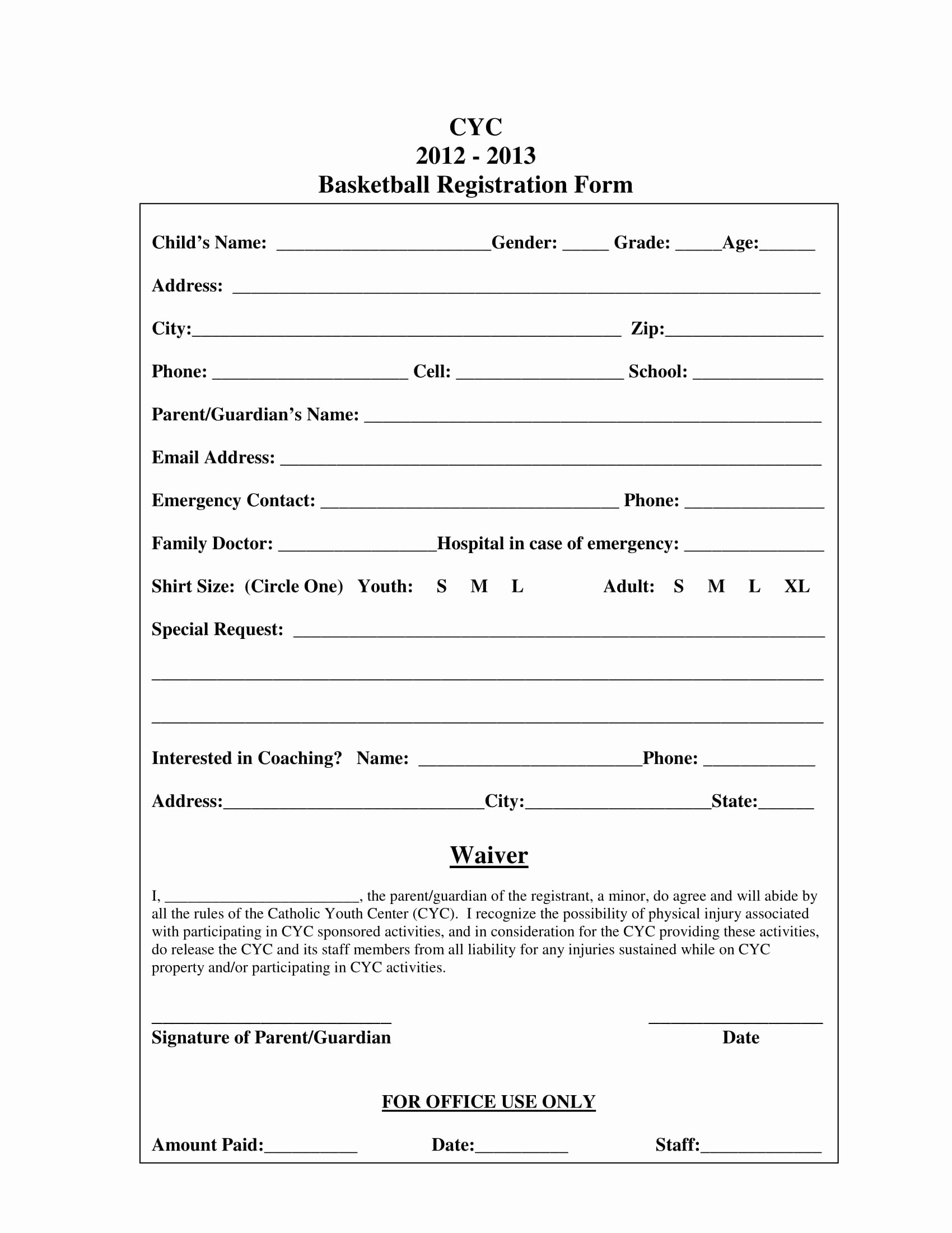 Basketball Tryout form Inspirational Free 9 Basketball Registration form Samples