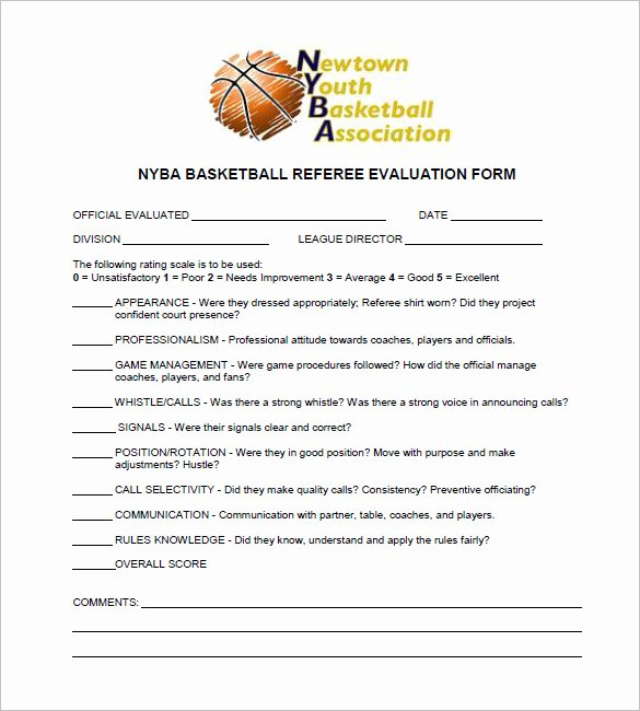 basketball evaluation form