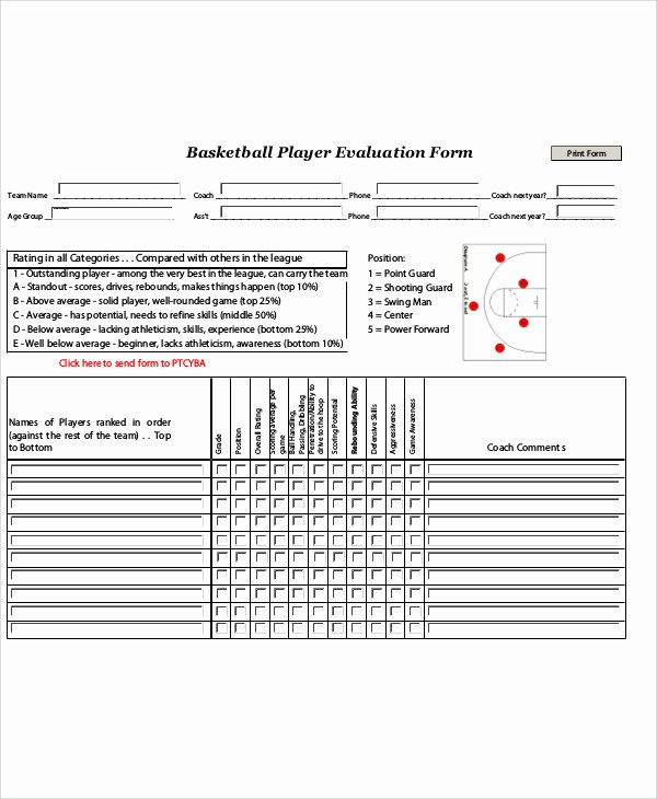 Basketball Tryout form Unique Sample Basketball Evaluation form 10 Examples In Word Pdf
