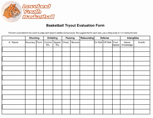 Basketball Tryout forms Elegant Basketball Tryout Evaluation form Loveland Youth