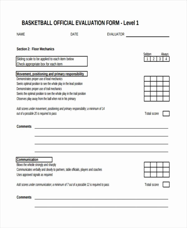 Basketball Tryout forms Elegant Free 9 Basketball Evaluation form Samples In Sample
