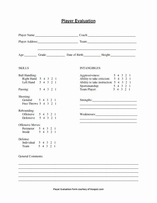 Basketball Tryout forms Lovely Basketball Tryout Evaluation form