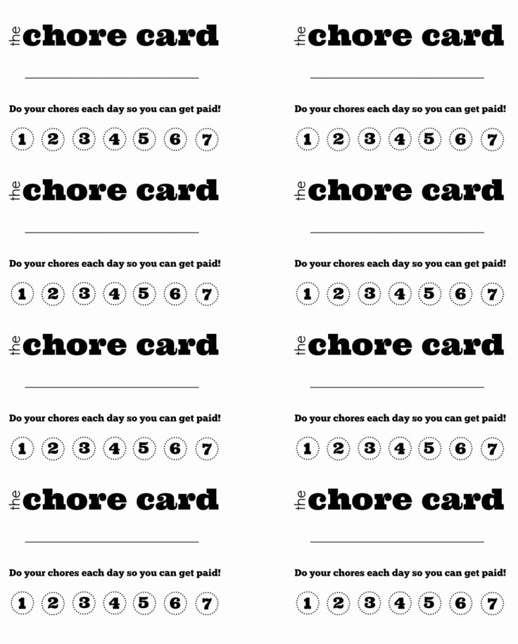 Behavior Punch Card Template Awesome Diy Printable Kid's Chore Punch Card Chores