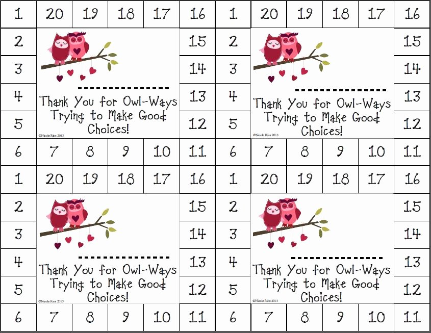 Behavior Punch Card Template Awesome Weekly Printable Gallery Category Page 10