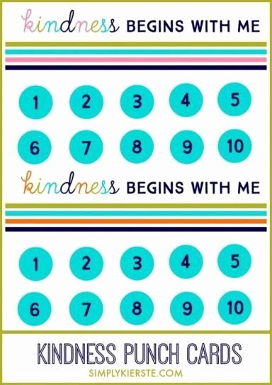 Behavior Punch Card Template Elegant Kindness Punch Card