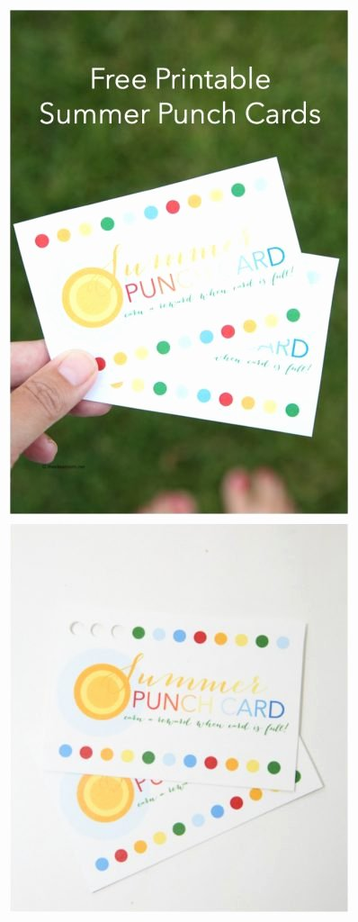 Behavior Punch Card Template New Free Summer Printable Punch Cards